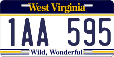 WV license plate 1AA595