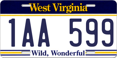 WV license plate 1AA599