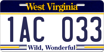 WV license plate 1AC033