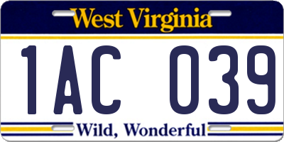 WV license plate 1AC039