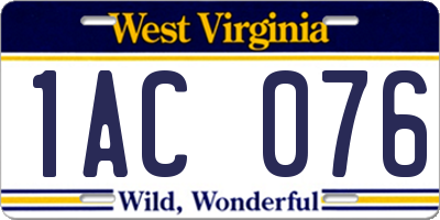 WV license plate 1AC076