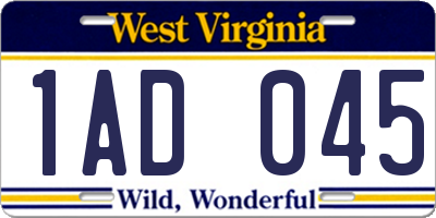WV license plate 1AD045