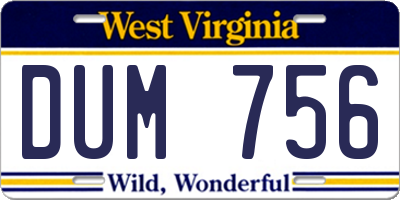 WV license plate DUM756