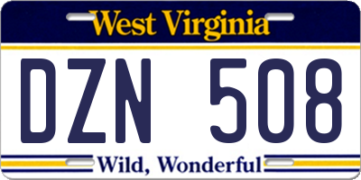 WV license plate DZN508