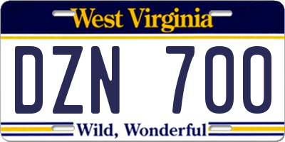 WV license plate DZN700