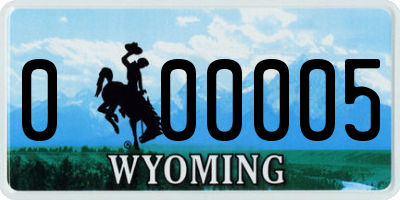 WY license plate 000005