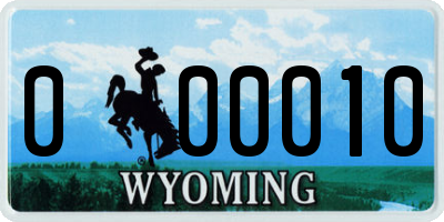 WY license plate 000010