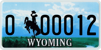 WY license plate 000012