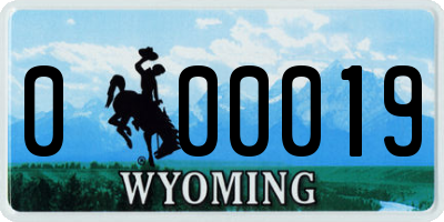 WY license plate 000019