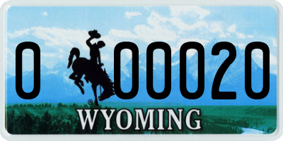 WY license plate 000020