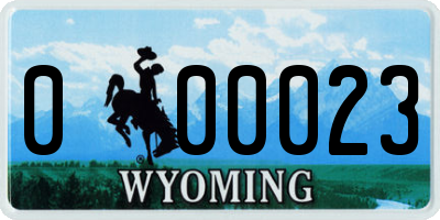 WY license plate 000023