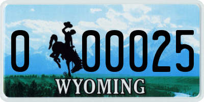 WY license plate 000025