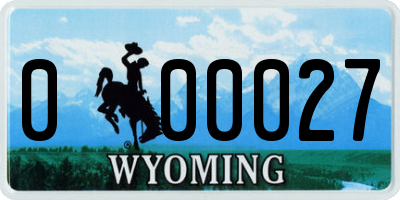 WY license plate 000027
