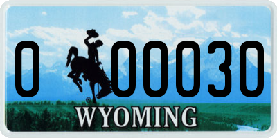 WY license plate 000030