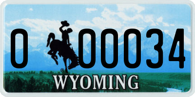 WY license plate 000034