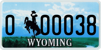 WY license plate 000038