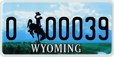 WY license plate 000039