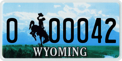 WY license plate 000042