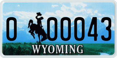 WY license plate 000043