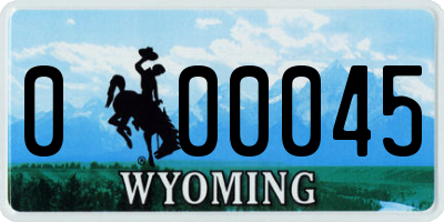 WY license plate 000045