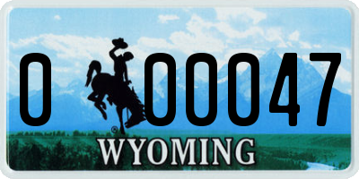 WY license plate 000047