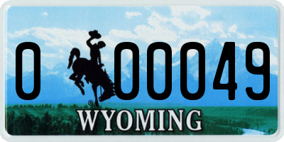 WY license plate 000049
