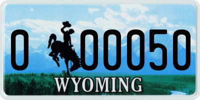 WY license plate 000050