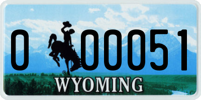 WY license plate 000051
