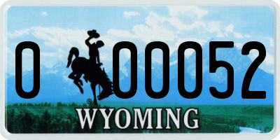 WY license plate 000052