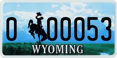 WY license plate 000053