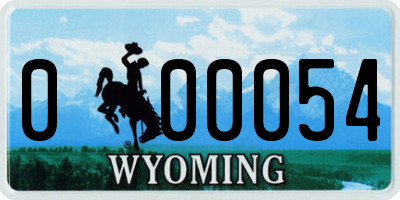 WY license plate 000054