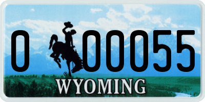 WY license plate 000055