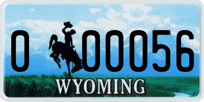 WY license plate 000056