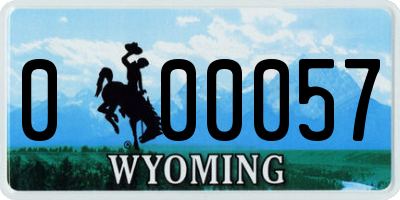 WY license plate 000057