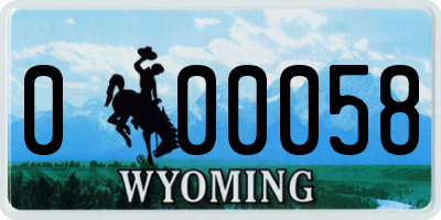 WY license plate 000058