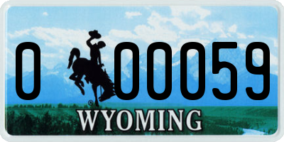 WY license plate 000059