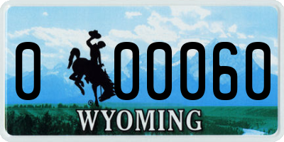 WY license plate 000060