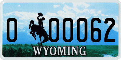 WY license plate 000062