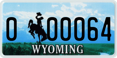 WY license plate 000064