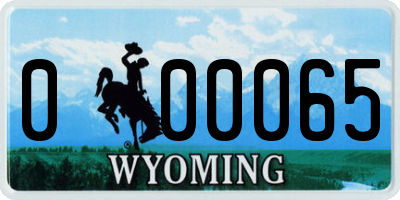 WY license plate 000065