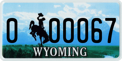 WY license plate 000067