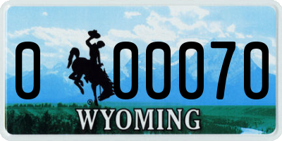 WY license plate 000070
