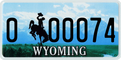 WY license plate 000074