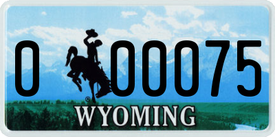 WY license plate 000075