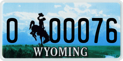 WY license plate 000076