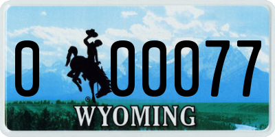 WY license plate 000077