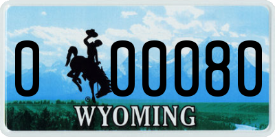 WY license plate 000080
