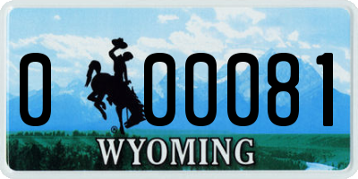 WY license plate 000081