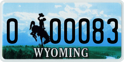 WY license plate 000083