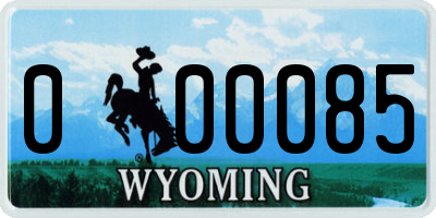 WY license plate 000085